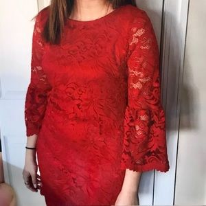 Ronni Nicole Red Lace Dress